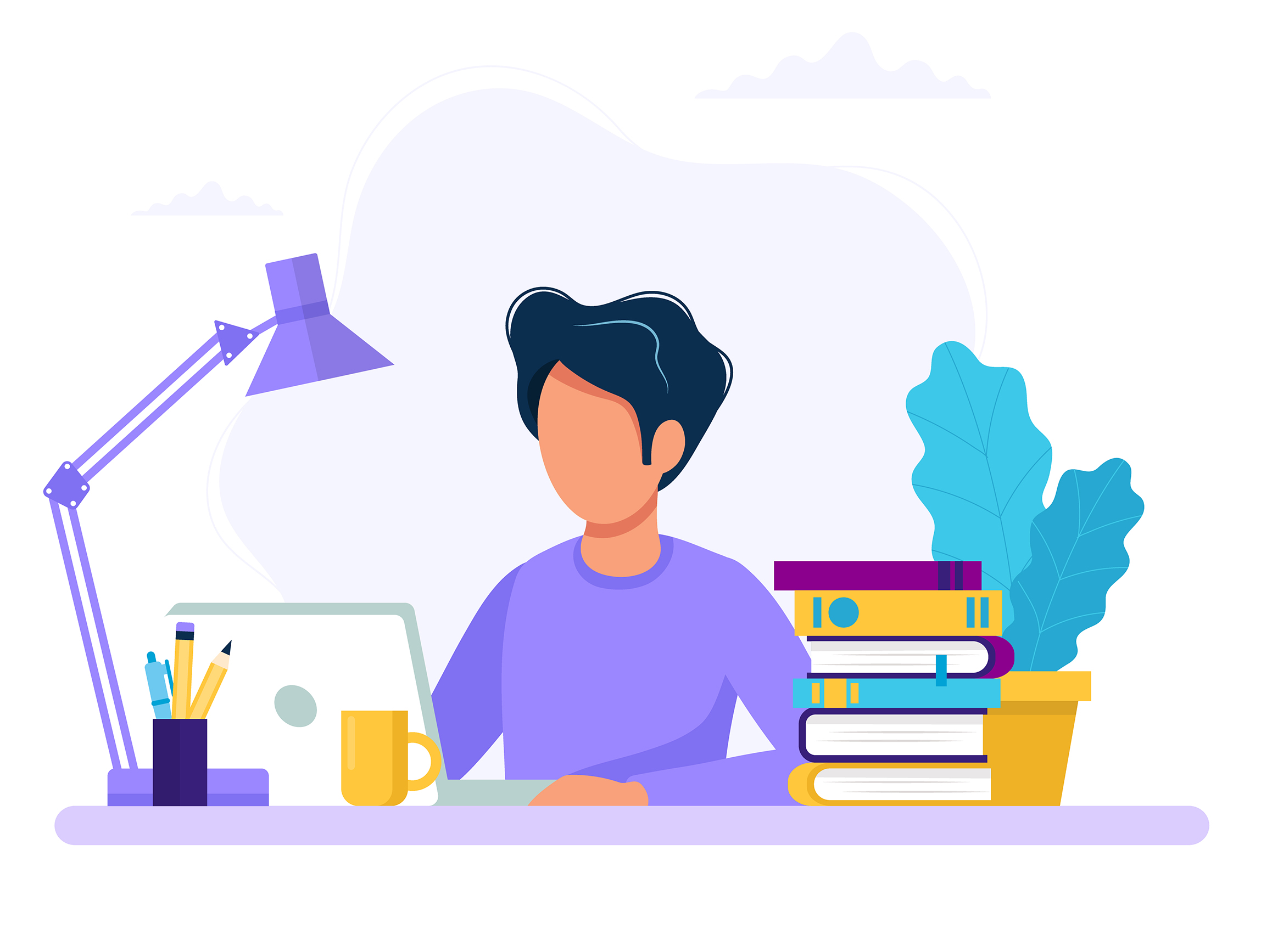 Man with laptop, education or working concept. Table with books, lamp, coffee cup. Vector illustration in flat style